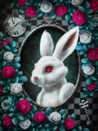 Alice in Wonderland. White rabbit from Alice in Wonderland. Portrait in oval frame, clock, key, red roses and white roses on chess background. Character from Alice in Wonderland. Illustration