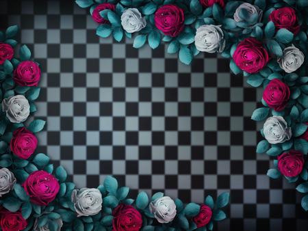 Alice nel paese delle meraviglie. Rose rosse e rose bianche su sfondo a scacchi. Rosa fiore cornice. sfondo delle meraviglie. Illustrazione