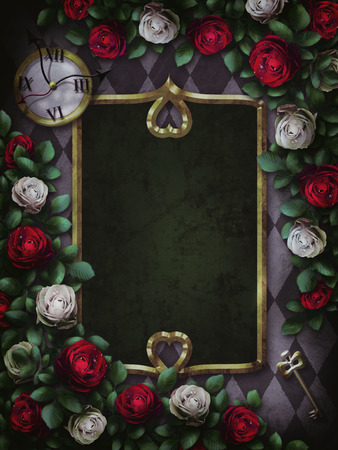 Alice in Wonderland. Red roses and white roses on chess background. Clock and key. Wonderland background. Rose flower frame, rectangular frame.Illustration.