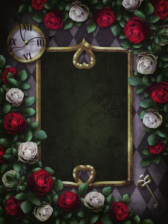 Alice in Wonderland. Red roses and white roses on chess background. Clock and key. Wonderland background. Rose flower frame, rectangular frame.Illustration.