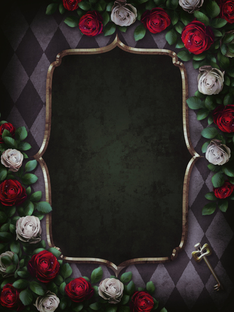 Alice in Wonderland. Red roses and white roses on chess background. Wonderland background. Rose flower frame. Gold frame. Illustration. Imagens