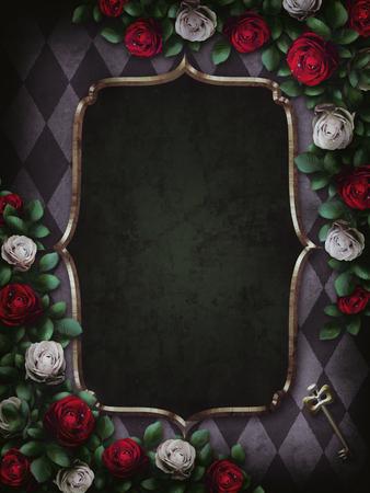 Alice in Wonderland. Red roses and white roses on chess background. Wonderland background. Rose flower frame. Gold frame. Illustration. Stock Photo