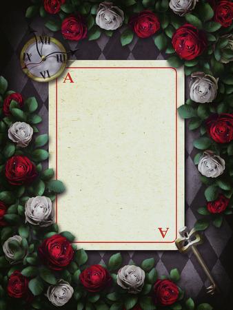 Alice nel paese delle meraviglie. Rose rosse e rose bianche su sfondo di scacchi. Orologio e chiave, carta da gioco. Cornice fiore rosa