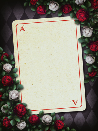 Alice in Wonderland. Red roses and white roses on chess background. Clock and key, playing card. Rose flower frame