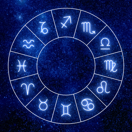Zodiac circle. Shining zodiac signs against space sky and stars. Stock Photo