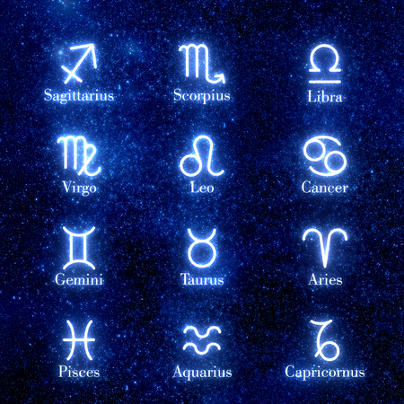 Zodiac signs. Set of icons. Astrology. Shining zodiac signs against space sky and stars. Illustration Reklamní fotografie
