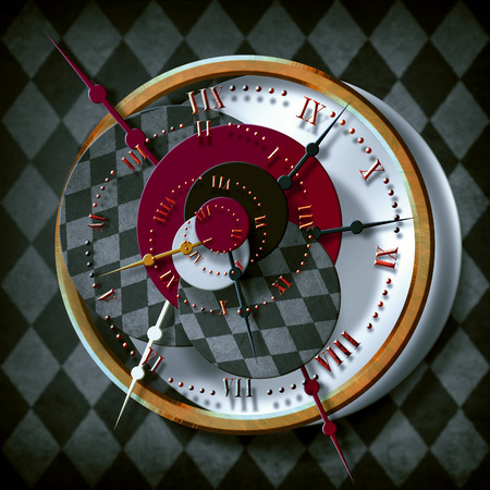 Wonderful gold checkered background. Spiral. Concept of time. illustration