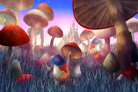 fantastic landscape with mushrooms and fog. illustration to the fairy tale Stok Fotoğraf