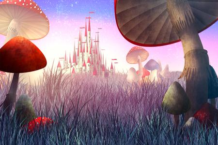 fantastico paesaggio con funghi e nebbia. illustrazione della fiaba Archivio Fotografico