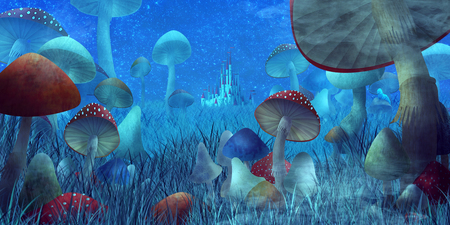 fantastic landscape with mushrooms and fog. illustration to the fairy tale Stockfoto