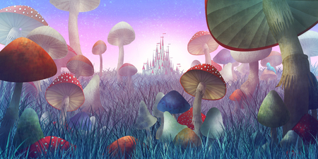 fantastic landscape with mushrooms and fog. illustration to the fairy tale Standard-Bild