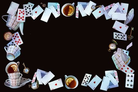 Wonderland background. Mad tea party.Playing cards, pocket watch, key, cup and teapot falling down the rabbit hole. Horizontal banner.