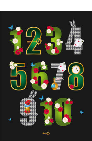 Wonderland poster with numbers. Beautiful fantasy letters with green leaves, red roses and white roses, gold frame, key, clock and cards. Vector illustration. Vectores