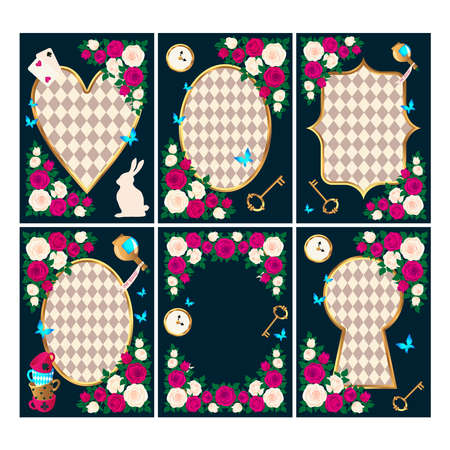 Red roses and white roses, clock and key, white rabbit, potion, tea cup, butterflies. Set of Wonderland background. Rose flower frame, keyhole frame, oval frame and heart frame. vector illustration Vectores
