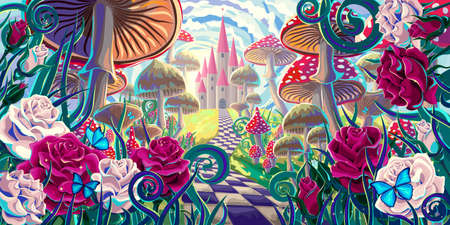 """fantastic landscape with mushrooms, beautiful old castle, red and white roses and butterflies. illustration to the fairy tale """"Alice in Wonderland"""" Ilustración de vector"""