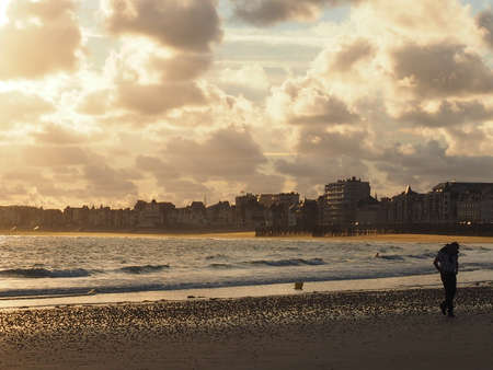 st  malo: Sunrise on the beach in St. Malo Stock Photo
