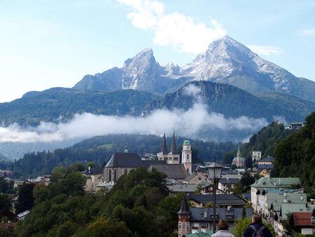 berchtesgaden: Berchtesgaden Cityscape against the watzmann with clouds