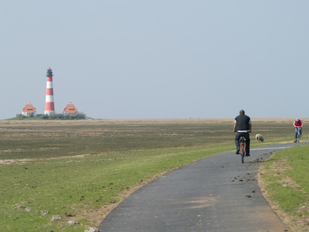yachtsman: Biking on the North Sea dike at westerhever