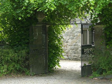 garden gate: Garden Gate - entrance fantasia country to Stock Photo