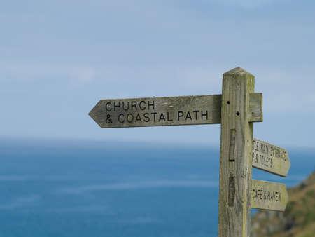 cornwall: trail signage coast path, Cornwall UK Stock Photo