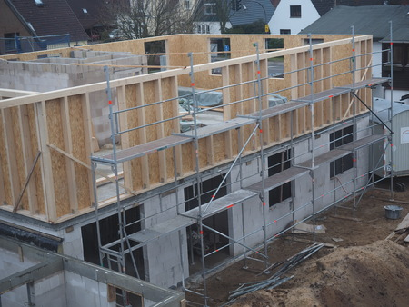carcass: View of a new building with carcass Stock Photo