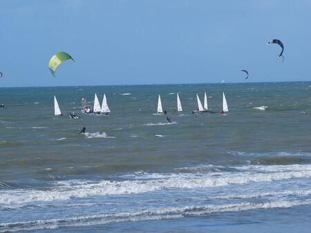 sailer: kiter and sailer Stock Photo
