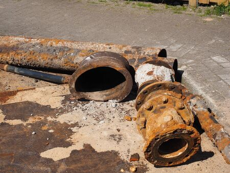 disposed: Disposed iron supply lines Stock Photo