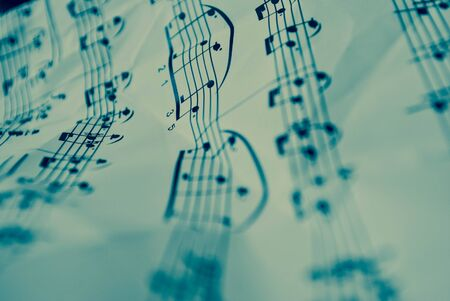 denoted: musical score with distinct musical notes Stock Photo