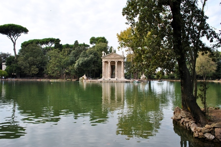 aesculapius: landskape with Temple of Aesculapius seen on the shores of Lake