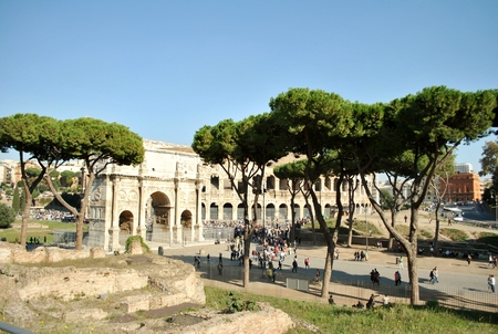 view of the Roman Forum s ancient attractions of Rome, the Colosseum and the Arch of Triumph