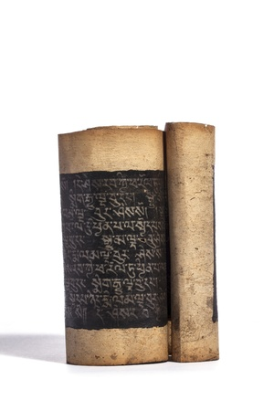 Aged buddhist sutra scroll used for meditation and contemplation
