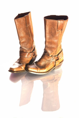 Stereotypical brown leather cowboy boots  A timeless fashion accessory and yet functional  Symbolic of the American wild west with connotations of hard work and team spirit  Stock Photo