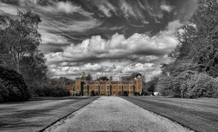 Blickling Hall, the former residence of Anne Boleyn  The black and white surround of this picture emphasises the history leading the eye towards the impressive modern day facade  photo