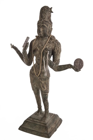 Lakshmi Hindu Deity  The Hindu Goddess prosperity and good fortune and the embodiment of beauty  This ancient bronze statue is duly adorned with gold and silver Stock Photo - 15333671