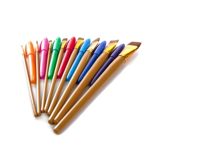 A fanned display of artist utensils isolated on a white background  Stock Photo