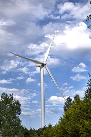 Alternative energy wind turbine rises above the tree tops  This high contrast image emphasises the dramatic contrast of technology in the natural world