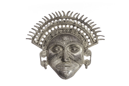 Traditional ancient Sun God ceremonial mask isolated against white background. The Sun God symbolises omnificent powers that watcing over us (spiritual or state).