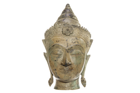 A traditional Buddha head with serene expression. Deep in thought or Buddhist meditation. The philosopher Buddha is isolated against a white background with copy space.