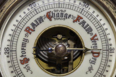 Global warming. Very dry weather forecast on a weather barometer
