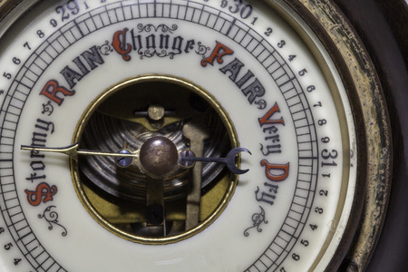 rain gauge: Slightly simplified image of a vintage weather barometer forecasting stormy weather ahead.
