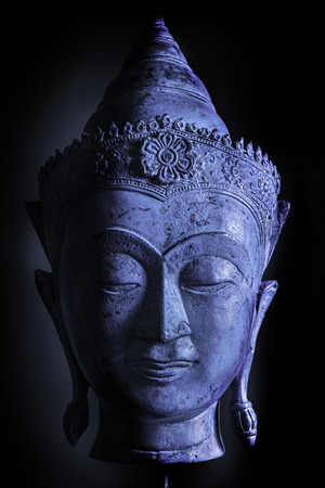 Calm cool buddha head, Cool blue tone accentuating the relaxed feel of this spiritual image.
