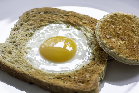 Novelty healthy breakfast meal of egg in toast. Egg fried in the centre of a slice of toast also known as egg in the basket.