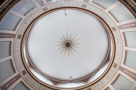 Ornate Italian style skylight. Greek or Roman architectural ceiling detail