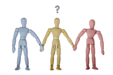 Transgender identity, sexuality, and gender as social stereotypes. Transgender or bisexual mannequin in an image representing gender and social identity stereotypes.