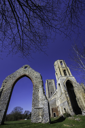 Historic English church ruin. Wymondham abbey ancient monument East Anglia UK Stock Photo