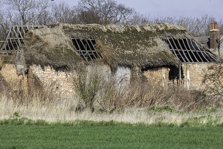 struts: Dilapidated thatched roof barn conversion project. Derelict old red brick English barn with collapsed thatch roof. Ideal barn-conversion building property. Stock Photo