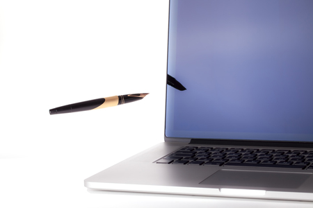 Online contact. Digital publication and ebook writing. Website blogging and design with pen and computer.