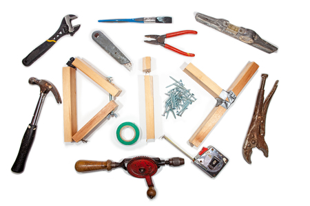 Hazlo tú mismo con la selección de herramientas de manitas vintage. Equipo de manitas con letras caseras de madera DIY.