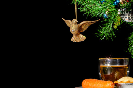 Mince pie and drink for Santa. Carrot for Rudolph. Under the Christmas tree on Xmas eve. Father Christmas and reindeer thank-you food.