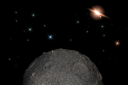 Moon and stars in space. Simple child-like planetary science and astronomy background meme image. Stock Photo